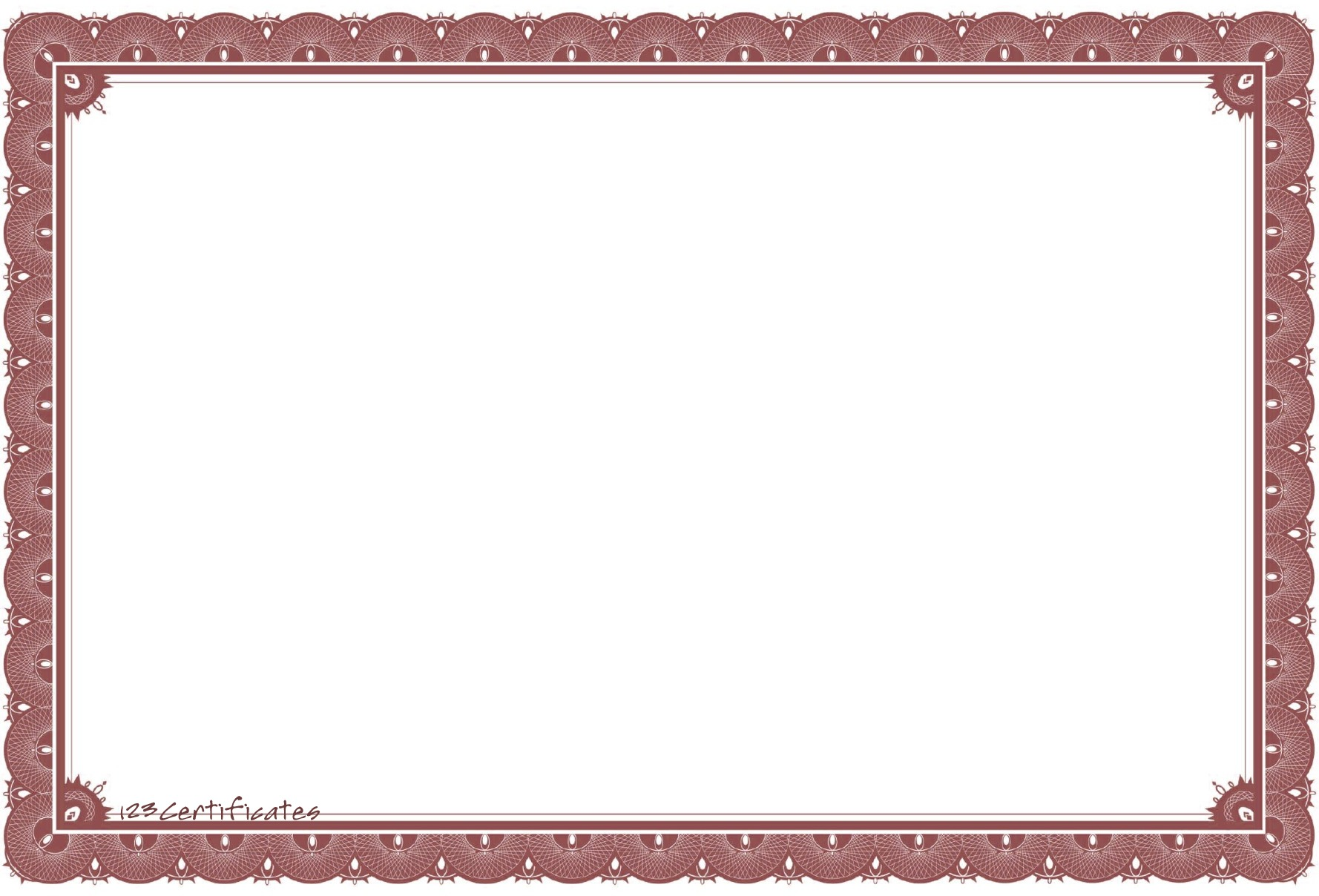 Dark red scalloped edge border 123 certificates