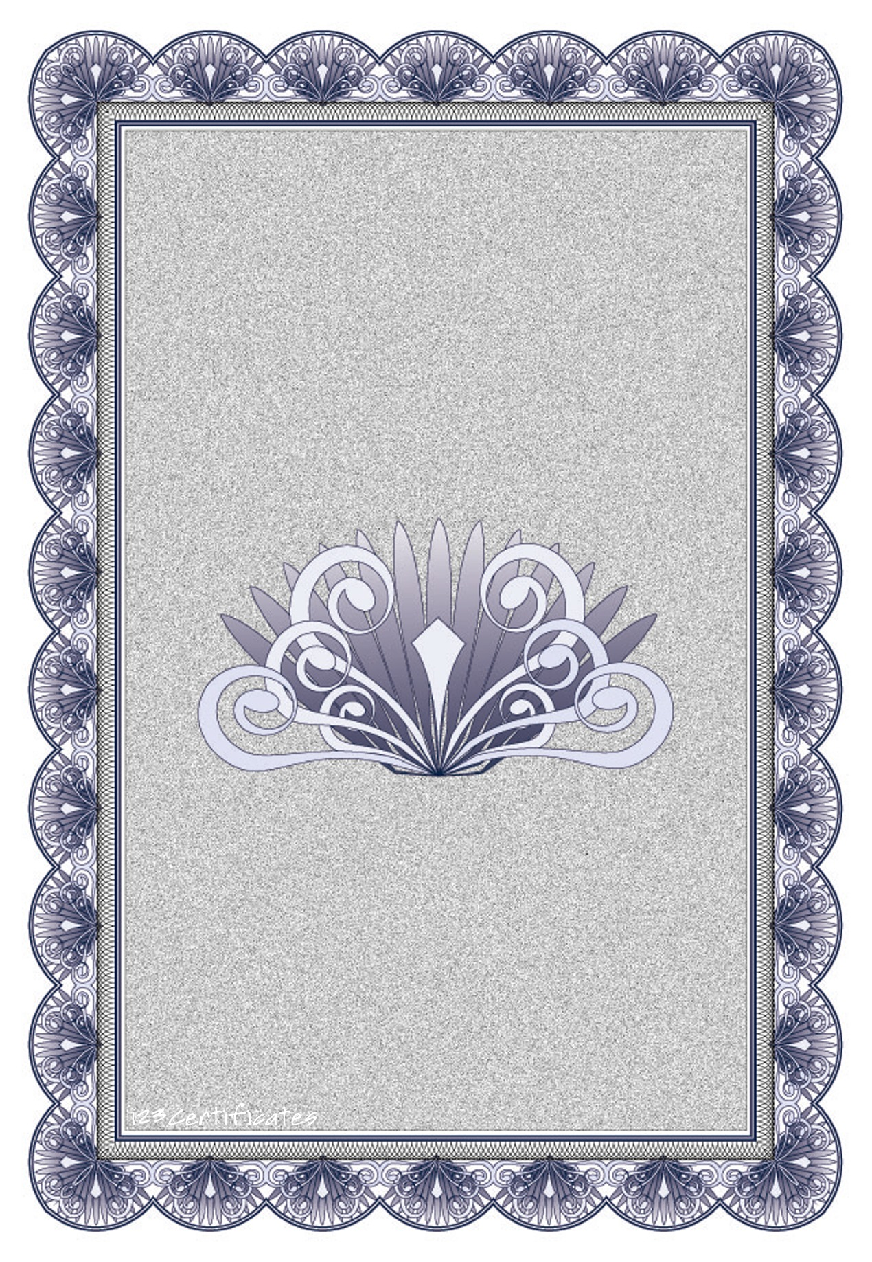 Blue Ornate Edge Border - 123 Certificates